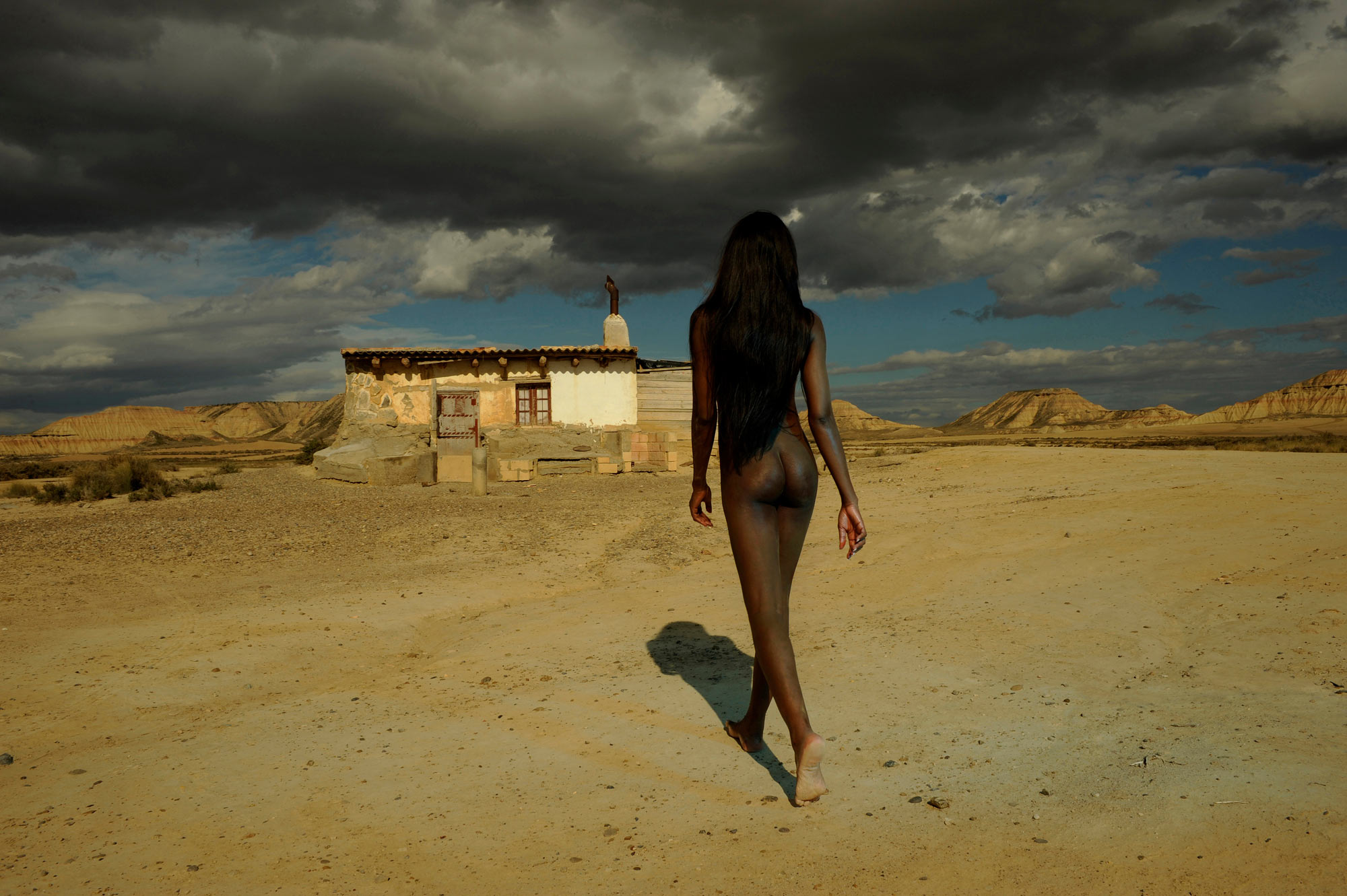"""""""A Surreal Encounter"""" Bardenas Reales with the lovely Raphaëlle.  We had to stop this shot to let a shepherd and his 200+ sheep pass...herding dogs included."""